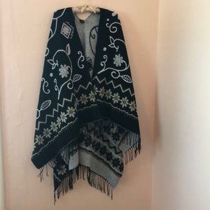 Wool Floral Cape Style Wrap